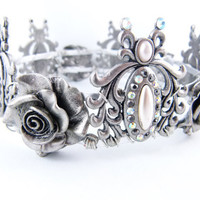 English Rose Silver Pewter Ivory Pearl Crystal Rose by angelyques