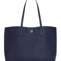 TORY BURCH Large PERRY TOTE Bag ~ NAVY Blue Leather ~ New/NWT $395