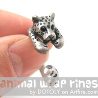 Leopard Jaguar Animal Wrap Around Ring in Silver - Sizes 4 to 9 Available