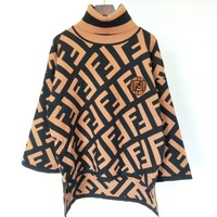FENDI Classic Hot Sale Women Casual F Letter Jacquard Knit High Collar Sweater Sweatshirt
