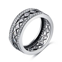 Hot Sale Silver Color Square Vintage Fascination, Clear CZ Pandora Ring For Women Luxury Fashion Jewelry