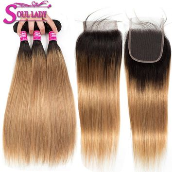 Soul Lady Ombre Bundles With Closure 1B/27 Blonde Ombre Brazilian Straight Human Hair Bundles With Closure Ombre Hair Extensions