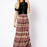 New Look Printed Crinkly Maxi Skirt