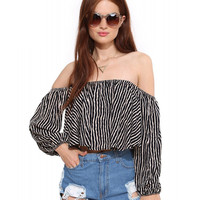 Zebra Striped Off-shoulder Long Sleeve Cropped Top