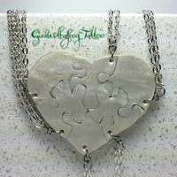 Heart Shaped Puzzle Necklaces Set of 6 Interlocking Necklaces Polymer Clay Made To Order