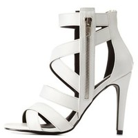 White Zipper-Trim Crisscrossing Caged Heels by Charlotte Russe