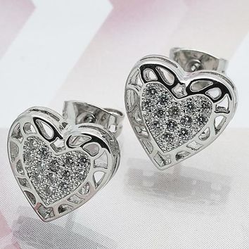 Rhodium Plated Women Heart Stud Earring, with White Micro Pave, by Folks Jewelry