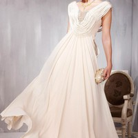 Fancy A-line Caped Floor-length Evening Party Dress