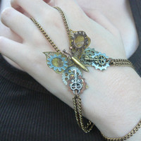 steampunk butterfly slave bracelet watch parts gears metals steampunk  gothic and fantasy style