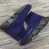 Balenciaga Speed In Dark Blue Knit And Black Sole Unit Trainers - Best Online Sale