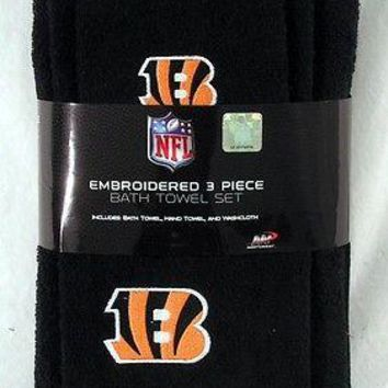 Cincinnati Bengals 3 PC Embroidered Bath Towel Gift Set FREE US SHIPPING