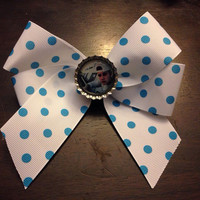 Justin Bieber Blue & White Polka Dot Hair Bow  by OhSoCr8tive