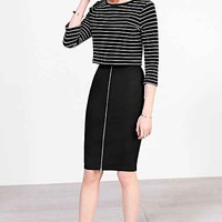 Silence + Noise Front Zip Fitted Skirt- Black