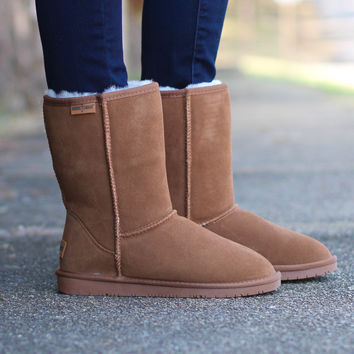 Minnetonka: Olympia Sheepskin Short Boot {Tan}