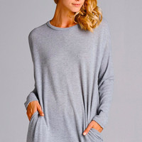 Casual Tunic with Pockets - Heather Gray