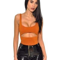 Oraina Burnt Orange Cut Out Stretch Crepe Bodysuit