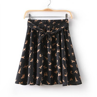 Cat Print Tie-Waist Skirt