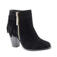 Fall Fashion Must Have! Fringe Accented Black Bootie Boots