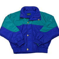 Vintage 90s Teal/Blue Winter Ski Jacket Mens Size Small