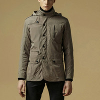 Stand Collar Long Casual Slim Men's Jacket = 1783154308