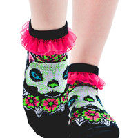 Muerta Cat Ruffled Ankle Socks