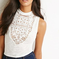 Mock Neck Crocheted Top