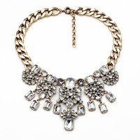 Floral Patterned Gold Crystal Rhinestone Necklace