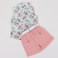 Baby  Girls Shirt +Shorts + Belt 3pcs Suit Children Clothing Sets