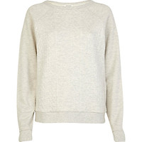 River Island Womens Cream cable quilted sweatshirt
