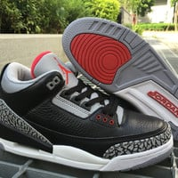 Nike Jordan Air Jordan 3 Retro Black/Gray/Red Leather Basketball Shoe