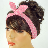 Dolly Bow Wire Headband Bandana Pin Up Hair Accessories Rosie the Riveter Pink White Polkadots Dolly Bows Bandana 50s headband Pink Bandana