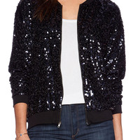 Black Sequin Details Long Sleeve Jacket