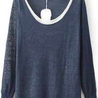 Navy Contrast Collar Long Sleeve Knit Sweater