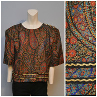 Vintage Plus Size Paisley Blouse with Shoulder Pads Buttons in Back Floral Patterned Shirt 1980's or Early 90's Boxy Flower Print Size 20
