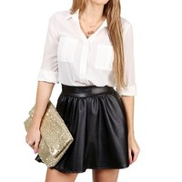 Ivory Basic Button Front Top
