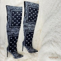 "Bad Girlz Bandanna Thigh High Boots 4"" Heels Black Bandana"