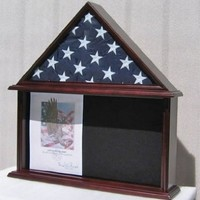 Military Shadow Box, Burial/Funeral Flag Display Case for 5' X 9.5' Flag, Mahogany Finish, Solid Wood (FC07-MA)