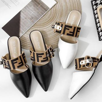 FENDI Fashion Women Pointed Sandal Slipper Shoes
