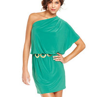 Wishes Wishes Wishes Juniors Dress, Short Sleeve Belted One-Shoulder - Juniors Dresses - Macy's