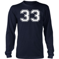 Men's Vintage Sports Jersey Number 33 Long Sleeve T-Shirt for Fan or Player #33