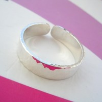 Sterling Silver Toe Ring - 4mm Flat with shimmer finish