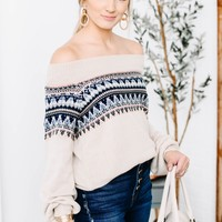 Off Shoulder Knitted Printed Sweater