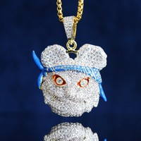 Custom  Panda Face with Bandana Pendant Chain