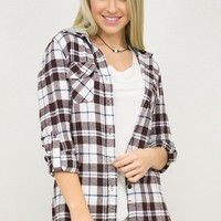 Hooded Chocolate Flannel Top