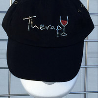 Wine Therapy Bling Baseball Cap