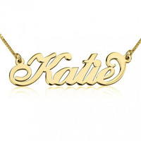 Gold Cursive Name Necklace, 24k Gold Plated Custom Nameplate Pendant, Personalized Fashion Jewelry Gift for Her, Layered Stackable Necklace