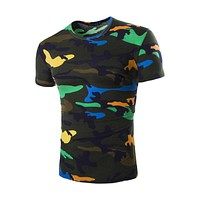 Camouflage Tee Shirt Men 2017 Summer Cool Design Fitness Hip Hop Casual Cotton Slim Camo Army tShirt Outwear T Shirt Men
