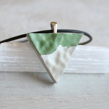 Triangle necklace - mint green and white