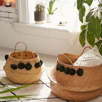 Pompom Wicker Basket - Set Of 2 | Urban Outfitters