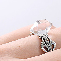 Herkimer diamond ring: sterling silver ring quartz crystal ring, double point adjustable